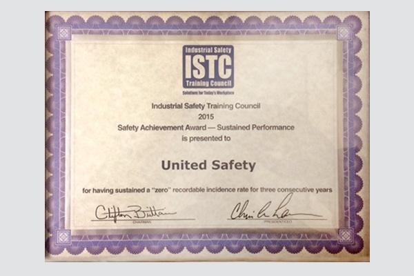 ISTC Safety Achievement Award